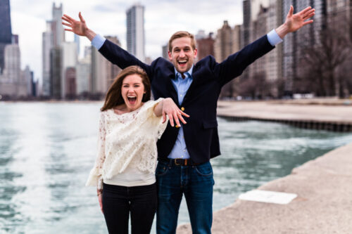 Surprise Chicago proposal photo of couple at North Avenue Beach
