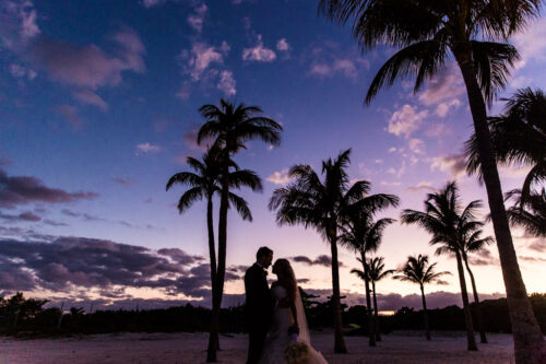 Bride and groom silhouette with palm trees and sunset at destination wedding in Mexico