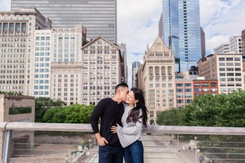 Chicago couple after Millennium Park proposal Art Institute engagement photo