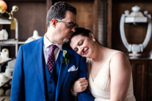 Romantic photo of bride and groom at Salvage One wedding venue in Chicago
