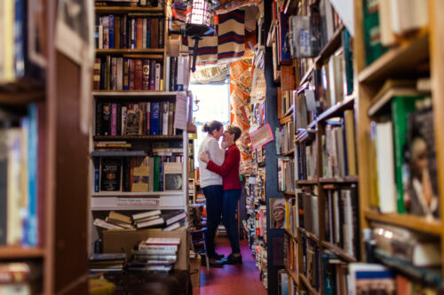 Ravenswood Used Books bookstore engagement session