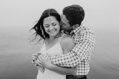 Romantic black and white engagement session on foggy night at North Avenue Beach