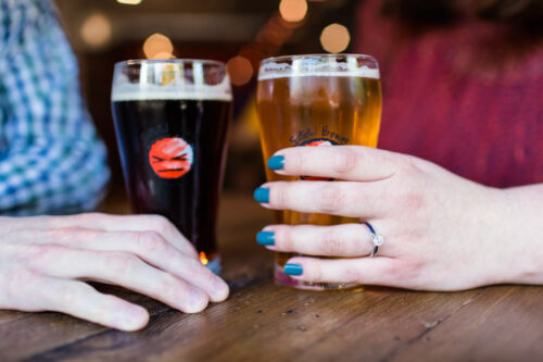 Chicago brewery engagement session at Spiteful Brewing