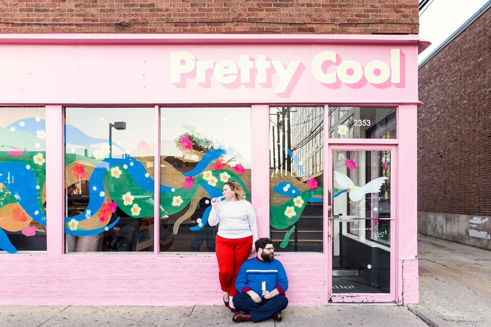 Logan Square engagement photo in front of Pretty Cool ice cream in Chicago