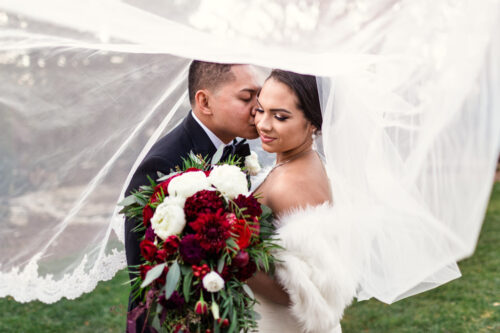 Romantic photo of bride and groom under veil at their fall Haley Mansion wedding in Joliet