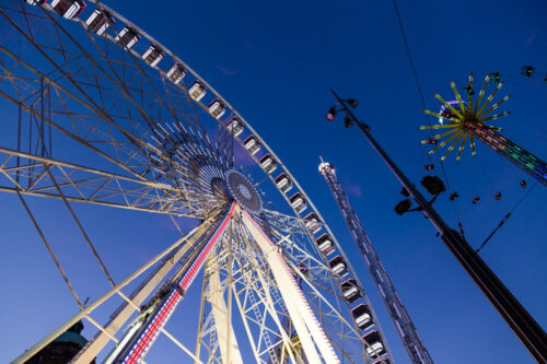 Amsterdam ferris wheel and carnival rides