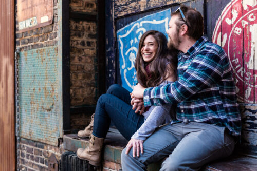 West Loop engagement session at Green Street Smoked Meats