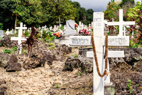 Gravestone at Painted Church cemetery in Hawaii near Captain Cook