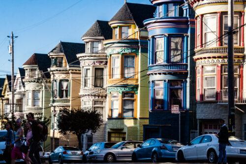 Colorful row houses called painted ladies in San Francisco neighborhood