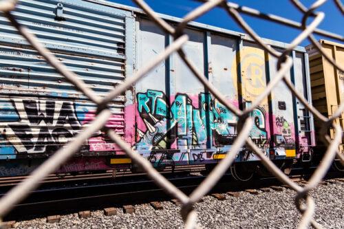 Train car in Utah with colorful graffiti art