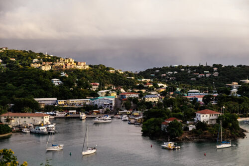 View of St. John Cruz Bay at US Virgin Islands after thunderstorm