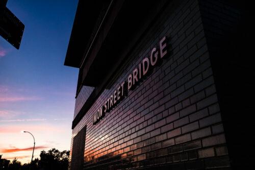 Union Street Bridge building in Brooklyn, New York at sunset