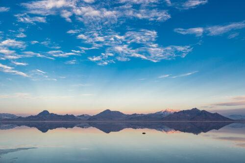 Utah Salt Flats and mountains at sunrise