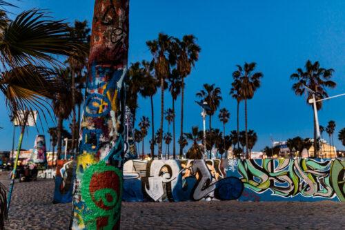 Venice Beach skate park at night in Los Angeles, California