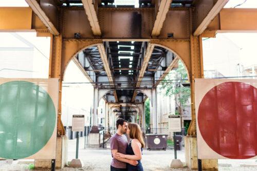 Chicago Lakeview neighborhood engagement photo under CTA tracks