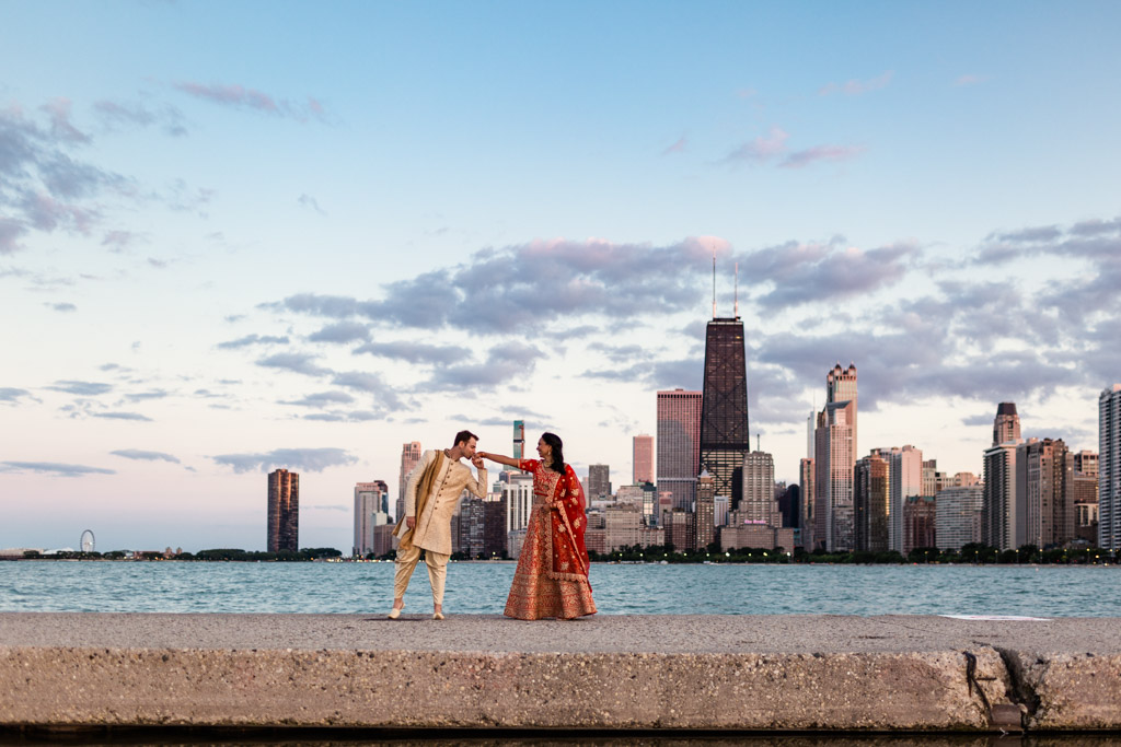 Chicago Indian wedding photo at North Avenue Beach with skyline view