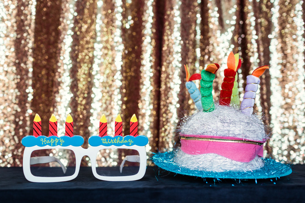 Happy Birthday glasses and birthday cake hat for Chicago Photo Booth by Emma Mullins Photography