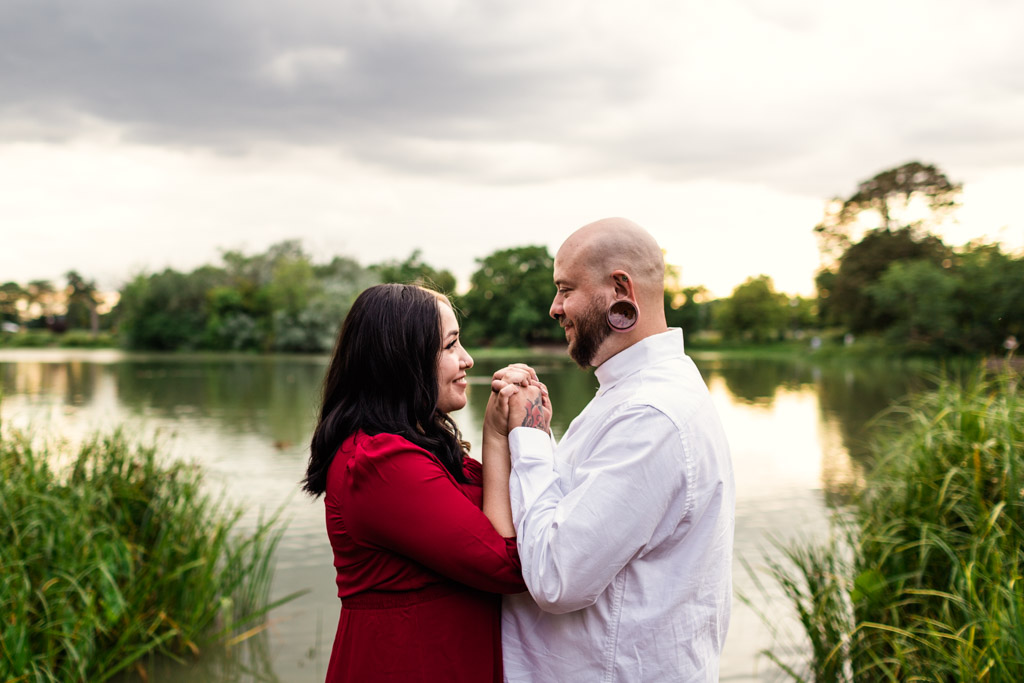 Romantic Chicago engagement photo at Humboldt Park Lagoon