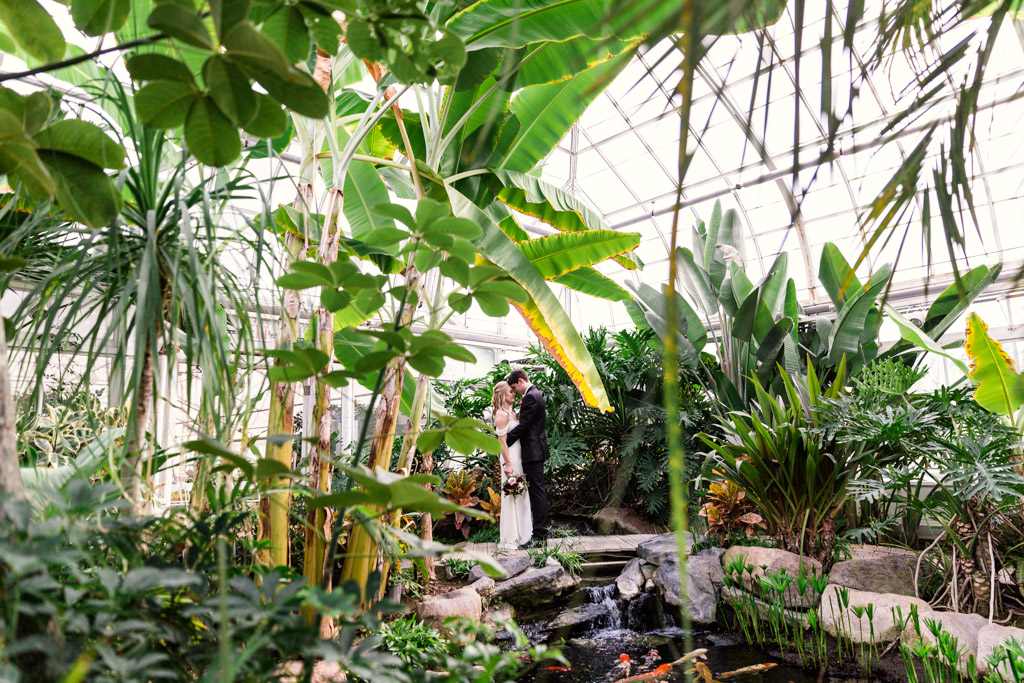 Romantic photo of bride and groom through palm trees at their Joliet Birdhaven Greenhouse wedding