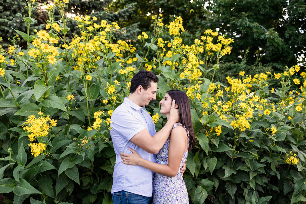 Romantic photo of engaged couple with sunflowers at Lincoln Park after surprise proposal at Alfred Caldwell Lily Pool