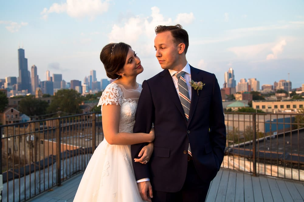 bride and groom on Chicago rooftop in fall